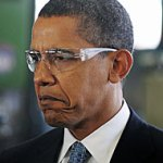 a picture of Obama frowning that we can all agree is funny