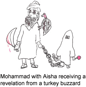Mohammad with Aisha receiving a revelation from a turkey buzzard