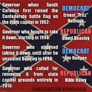 "Governor when South Carolina first raised the Confederate battle flag on the state capitol in 1962: DEMOCRAT Ernest ""Fritz"" Hollings Governor who fought to take it down starting in 1996: REPUBLICAN David Beasley Governor who opposed taking it down until after he unseated Beasley in 1998: DEMOCRAT Jim Hodges Governor who called for removing it from state capitol grounds entirely in 2015: REPUBLICAN Nikki Haley"