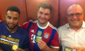 "Anthony Sadler, Alek Skarlatos and Briton Chris Norman after the attack on the train. ""The three Americans and Norman have already been awarded medals of bravery from the local mayor. Stone was still in the hospital, so he is not pictured in the Twitter photo above."""