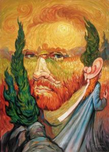 Optical-illusion-type painting by Oleg Shuplyak of man's face made up of landscape, smaller man looking at viewer, and woman walking away
